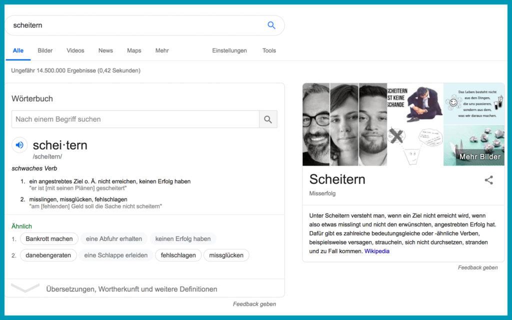 """Googlesuche zum Begriff """"scheitern"""" (25.05.2019)"""